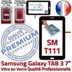 Tactile TAB3 7 T111 Qualité Samsung Noir LCD SM Verre Ecran SM-T111 Galaxy Supérieure Prémonté Adhésif Vitre Noire LITE en PREMIUM Assemblée