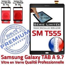 TAB-A Assemblée Métallique Verre Noire Ecran Samsung Tactile Galaxy Adhésif PREMIUM Prémonté Noir SM T555 Vitre 9.7 Qualité SM-T555