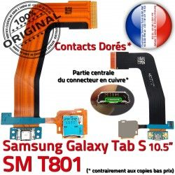 Prise Galaxy USB Connecteur S Qualité Samsung SM-T801 Ch Lecteur Nappe Doré ORIGINAL Micro TAB-S Chargeur Charge Mémoire TAB de SD Port