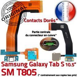 de Micro USB Chargeur TAB TAB-S Doré ORIGINAL Ch Lecteur Samsung Port Connecteur S Galaxy Charge Nappe SM-T805 Qualité SD Prise Mémoire