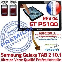 Galaxy en Assemblée PREMIUM Qualité 04 GT-P5100 GT Samsung Ecran P5100 Verre 2 R Vitre 10.1 TAB Noire Tactile REV N Adhésif LCD TAB2 Prémonté