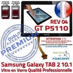 10.1 Verre Ecran PREMIUM Prémonté Adhésif LCD en P5110 TAB-2 Tactile N Galaxy REV GT Noir Vitre R04 Supérieure Qualité Samsung