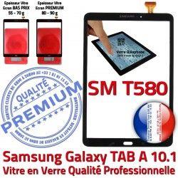 PREMIUM T580 N Tactile TAB Noir A Qualité SM-T580 Vitre Samsung aux Galaxy 10.1 en Ecran Chocs Résistante TAB-A SM Supérieure Verre Noire