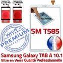 Samsung Galaxy TAB A SM-T585 B Vitre en Ecran T585 Tactile PREMIUM SM Supérieure Chocs aux Verre Qualité Blanche Blanc Résistante 10.1 TAB-A