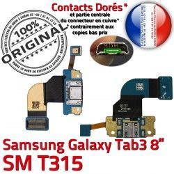 SM-T315 Samsung Dorés Ch T315 de TAB3 TAB Charge Galaxy Nappe Réparation Contacts SM 3 Qualité MicroUSB Chargeur Connecteur OFFICIELLE ORIGINAL