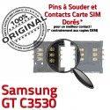 Samsung GT c3530 S Reader ORIGINAL SIM Dorés Lecteur OR Prise Connecteur SLOT Connector à souder Carte Pins Card Contacts