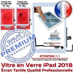 9.7 Oléophobe 6 Qualité Tactile Ecran Fixation Bouton Verre Caméra Blanc Tablette HOME Nappe Monté Vitre Réparation iPad 2018 Adhésif inch
