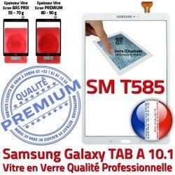 Tactile Galaxy Ecran inch Qualité A6 Supérieure 2016 aux TAB Chocs Verre PREMIUM 10.1 SM-T585 Vitre TAB-A6 Résistante Blanc B Blanche