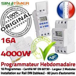 Porte Electronique Commutateur Creuses DIN 4kW Programmateur Programmation Jour-Nuit Automatique Ventouse Rail 16A Heures Hebdomadaire 4000W