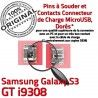 Samsung Galaxy S3 GT i9308 C Micro ORIGINAL charge à Dock Chargeur Connecteur USB Dorés Flex souder Prise de Connector Pins