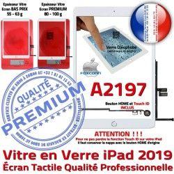 Tablette Oléophobe Vitre A2197 Caméra HOME Qualité Nappe Fixation 2019 Blanc Verre Monté Tactile Ecran iPad Adhésif Réparation