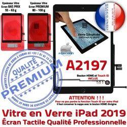 A2197 Vitre Qualité Nappe Réparation Noir Monté Caméra HOME IC Verre Oléophobe iPad Ecran Adhésif Fixation 2019 Tactile Tablette