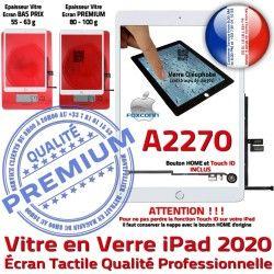 Nappe Ecran Verre Fixation Oléophobe A2270 Monté Caméra HOME Réparation iPad Tablette Tactile Blanc Vitre Adhésif Qualité 2020