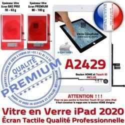 Monté Verre Caméra HOME Blanc Réparation Fixation 2020 iPad Adhésif Qualité Tactile Nappe Oléophobe Ecran A2429 Vitre Tablette