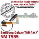 Samsung Galaxy TAB A SM-T555 C T555 Contact de OFFICIELLE Qualité Connecteur Charge Doré Nappe ORIGINAL Chargeur SM Réparation MicroUSB