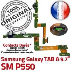 Chargeur C SM-P550 Qualité Galaxy de Doré A OFFICIELLE P550 Connecteur USB Contacts Micro SM Charge Réparation Nappe ORIGINAL TAB Samsung