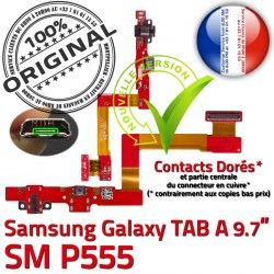 Nappe TAB A Doré ORIGINAL P555 Connecteur Réparation Chargeur SM C Qualité SM-P555 de Galaxy Contact Samsung OFFICIELLE Charge MicroUSB