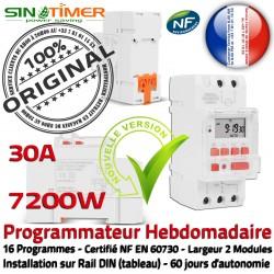 7kW Électronique 30A Minuteur Horloge Rail Digital électrique Programmation DIN Electrique Tableau Programmable Journalière 7200W Minuterie