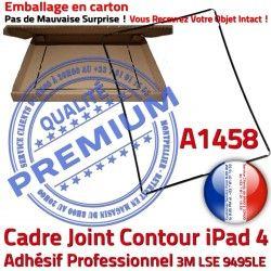 Ecran Réparation Adhésif Tactile Noir Apple Plastique Cadre Contour Tablette 4 iPad Autocollant Vitre N Precollé Joint Châssis A1458
