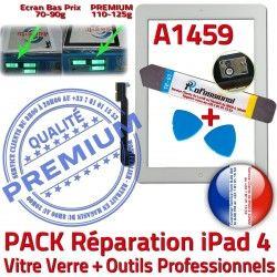 Qualité Réparation Démontage iPad4 Blanche PACK A1459 Verre Vitre Oléophobe 4 Bouton PREMIUM Tactile B KIT HOME iPad Precollé Adhésif Outils
