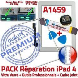 Apple iLAME A1459 B Cadre 4 Bouton Réparation PACK HOME Outils Blanche PREMIUM iPad4 Joint iPad Adhésif Tactile Verre Precollé Tablette Vitre