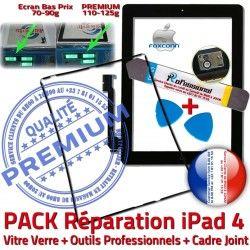 HOME Bouton Joint PREMIUM Noire Verre Vitre iPad Tactile Adhésif N Cadre Chassis 4 iPad4 Réparation Tablette Precollé Apple KIT PACK Outils iLAME