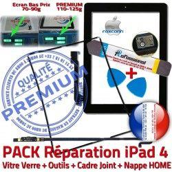Cadre Joint iPad iLAME Verre Noire Nappe Bouton iPad4 Vitre Precollé Outils Tactile Apple Tablette KIT PACK Réparation PREMIUM Adhésif HOME N 4