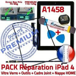 HOME Tablette PACK Apple Cadre Bouton Precollé N Outils Vitre Réparation Adhésif Joint Verre KIT A1458 Noire iPad4 Nappe iLAME Tactile