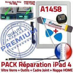 A1458 Vitre Réparation iLAME Verre Bouton iPad4 PACK HOME Apple Precollé Tablette B PREMIUM Tactile Adhésif Outils Joint Blanche Nappe