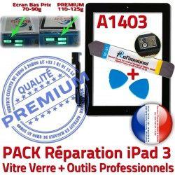 3 Verre PACK N iPad Adhésif Outils KIT HOME PREMIUM Démontage A1403 Oléophobe Precollé Réparation Noire Vitre Tactile iPad3 Bouton Qualité