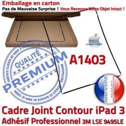 Noir Plastique Réparation Contour Autocollant Châssis N A1403 Adhésif Tactile Ecran 3 Apple Precollé Joint Vitre Cadre iPad Tablette