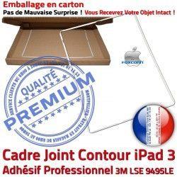Ecran Châssis Tablette Cadre iPad Apple B Vitre Contour Réparation 3 Blanc ABS Adhésif Precollé Plastique Joint Tactile iPad3 Autocollant