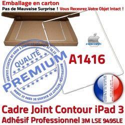 Plastique Apple Châssis Cadre Joint Réparation Ecran ABS Autocollant iPad 3 Adhésif Tactile Vitre Contour Blanc B A1416 Tablette