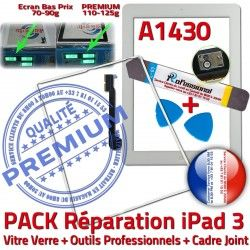 Joint Blanche Apple Réparation iPad Verre Adhésif B Precollé Cadre Vitre PACK Tablette HOME A1430 Tactile iLAME Outils PREMIUM iPad3 3 Bouton