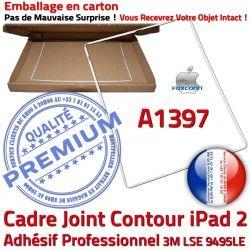 Réparation ABS Joint Autocollant Cadre Vitre A1397 B Apple Tablette 2 iPad Ecran Contour Blanc Plastique Châssis Tactile Adhésif