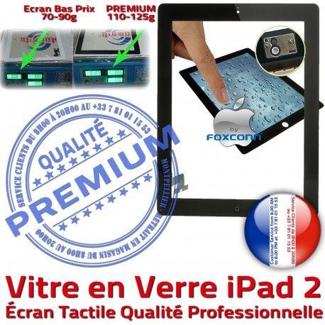 iPad2 Apple A1395 A1396 A1397 PN iPad Ecran Caméra Oléophobe Bouton Nappe Tactile Adhésif 2 Vitre Precollé Fixation Remplacement HOME Noir Verre Qualité PREMIUM