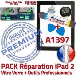 N A1397 Oléophobe Vitre PACK Noire KIT iPad 2 Réparation Qualité Bouton Démontage Verre PREMIUM HOME Precollé Tactile Adhésif iPad2 Outils