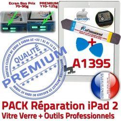 Vitre Verre KIT HOME B 2 Qualité Outils Precollé Tactile Bouton Oléophobe PREMIUM Adhésif A1395 iPad2 PACK iPad Démontage Blanche Réparation