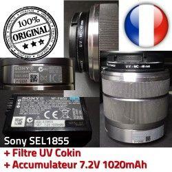 + ORIGINAL f/3.5-5.6 Accumulateur UV 18mm-55mm Filtre 1020mAh SEL1855 Optique Sony 7.2V Cokin Objectif 49mm Stabilisateur MC