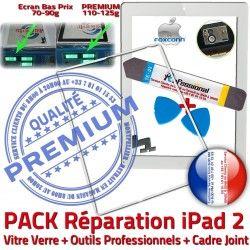 Bouton Joint Adhésif Vitre iPad2 PREMIUM Verre Outils iLAME B Réparation Blanche Cadre Tablette Precollé PACK Apple Chassis Tactile HOME