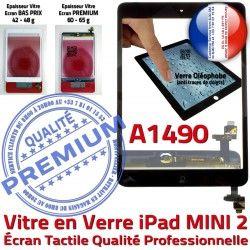Ecran Nappe Tablette Caméra A1490 Mini2 Noir Fixation Bouton Adhésif Oléophobe Verre Vitre Tactile Monté Home Filtre iPad Réparation