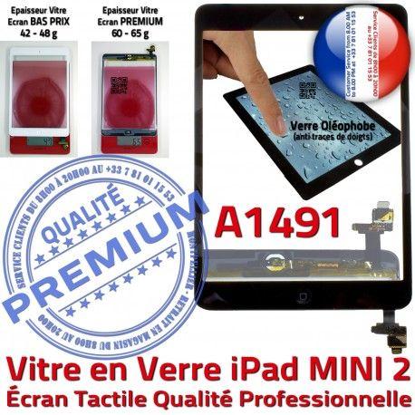 iPad Mini2 A1491 Noir Adhésif Filtre Caméra Vitre Tablette Oléophobe Ecran Nappe Tactile Home Réparation Verre Fixation Monté Bouton