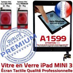 Fixation A1599 iPad Home Tablette Monté Adhésif Réparation Mini3 Verre Oléophobe Nappe Filtre Noir Tactile Caméra Bouton Ecran Vitre