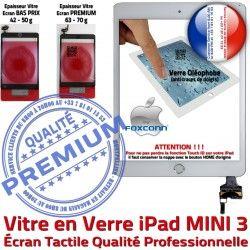 Ecran Tablette Adhésif Caméra Blanc Verre Oléophobe MINI Bouton Mini3 Monté 3 Filtre Vitre A1599 A1600 Réparation iPad Fixation Tactile Nappe Home