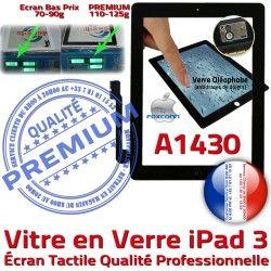 iPad3 PREMIUM Caméra HOME Noir Vitre iPad Oléophobe 3 A1430 Adhésif Fixation Qualité Bouton Apple Ecran Verre Remplacement Precollé Tactile