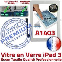 A1403 3 Blanc Vitre Apple iPad3 PREMIUM Verre Ecran Qualité Adhésif Oléophobe iPad HOME Remplacement Caméra Precollé Bouton Tactile Fixation