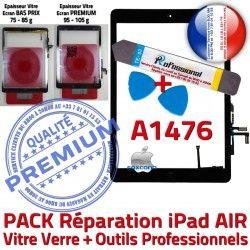 PREMIUM Verre HOME Qualité Bouton PACK iPad Vitre Precollé Outils Noire Démontage AIR A1476 Réparation KIT N Oléophobe Tactile Adhésif