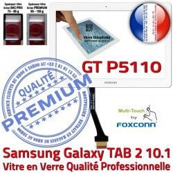 Verre Vitre Prémonté en PREMIUM GT TAB TAB2 LCD Supérieure GT-P5110 Assemblée B 2 Blanche Samsung Adhésif Galaxy Qualité P5110 10.1 Tactile Ecran
