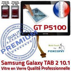 GT-P5100 Samsung Tactile Qualité Noire LCD Ecran GT Supérieure 2 Galaxy P5100 Verre TAB Assemblée TAB2 Vitre Adhésif Prémonté N en 10.1 PREMIUM
