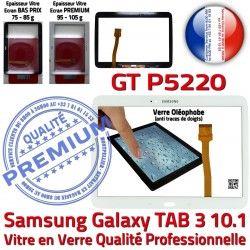 Tab3 Adhésif PREMIUM TAB3 Galaxy Prémonté Vitre Ecran B LCD Verre Blanche 10.1 GT-P5220 Qualité Supérieure en Tactile Assemblée Samsung